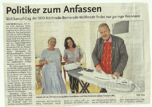 Pressefoto Petra Rudszuck mit Knut Böhme bei Gastgeberin Petra Hormann
